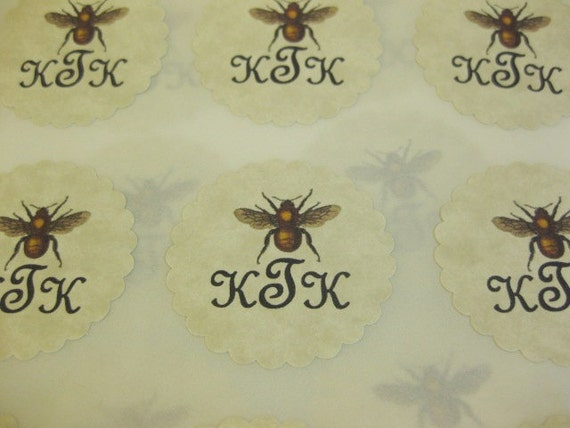 Vintage Bee Stickers Eco- Friendly Envelope Seals Custom Initials Set of 24