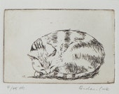 original etching of sleeping cat - Zzzz
