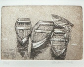 original etching and aquatint of rowing boats on the water