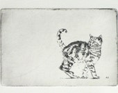 original etching of a curious walking cat