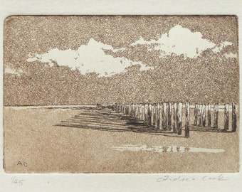 wave breakers on the beach - original etching and aquatint