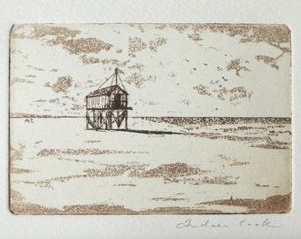 original etching of a beach hut