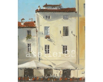 giclee art print of Italian houses