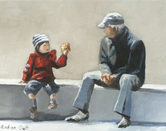 grandchild and grandfather giclee art print