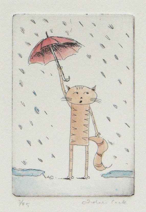 original cat etching and watercolor - singing in the rain