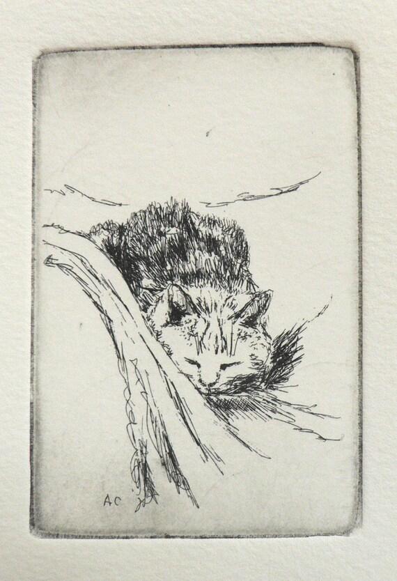 original cat etching