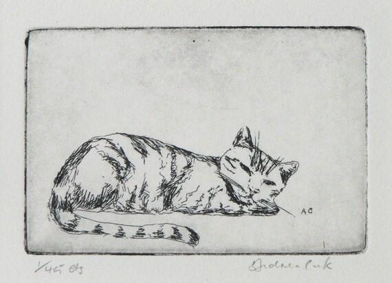 original etching of sleeping cat