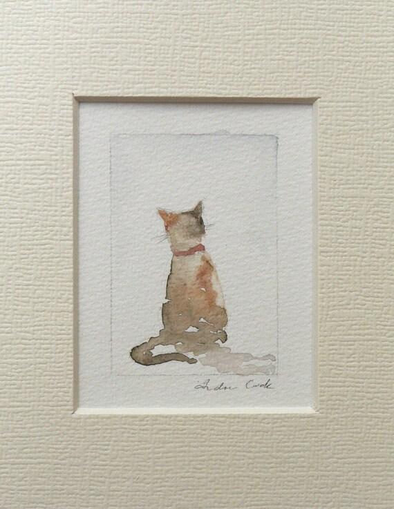 original cat watercolor painting miniature