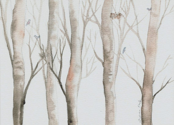 SALE 20% OFF original watercolor painting of a woodland