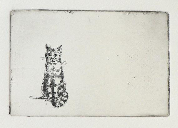 original etching of a sitting cat
