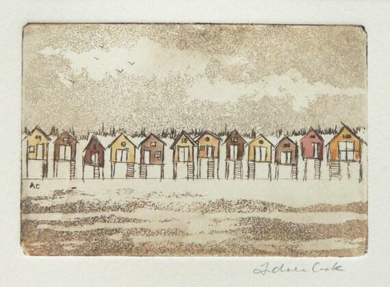 beach huts - original etching