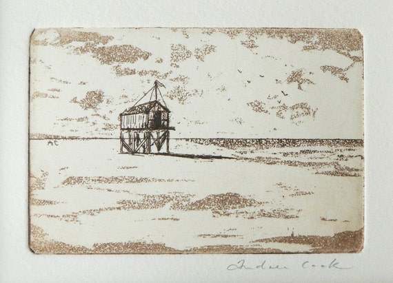 original etching of a beach hut