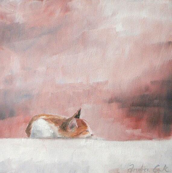 original oil painting of a sleeping cat