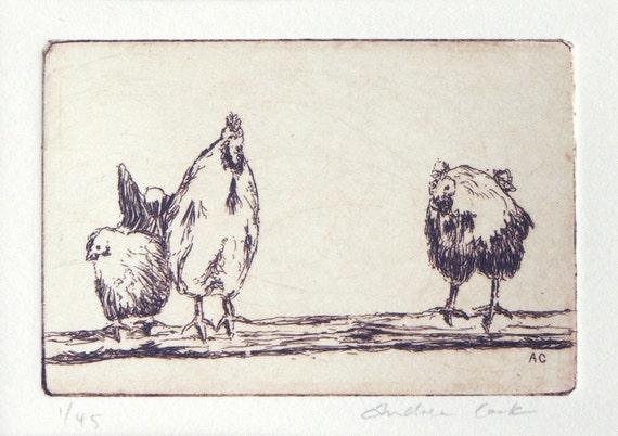 original etching of 3 chickens