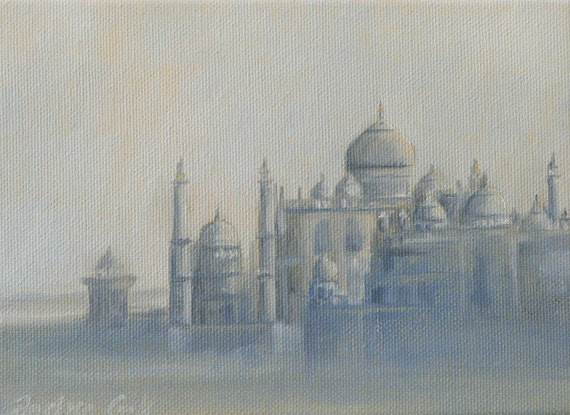 giclee art print of a view of the Taj Mahal in the mist, in India