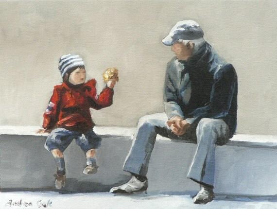 grandchild and grandfather giclee art print