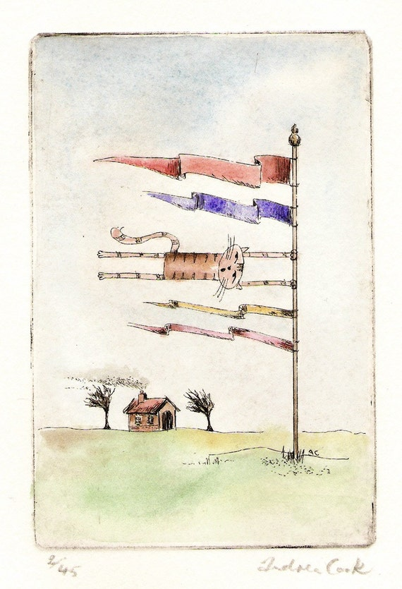 original cat etching and watercolor - it's a bit windy