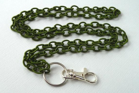 Olive Green Nylon Chain ID/Badge Lanyard