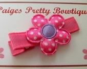 "1"" Hot Pink Satin Flower Clip-Toddler Hair Clip-Baby Hair Clip-Alligator Clip"