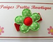 "1"" Green & Red  Satin Flower Snap Clip-Toddler Hair Clip-Infant Hair Clip-Baby Hair Clip-Fine Hair Clip"
