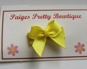 Yellow Itty Bitty Bow Snap Clip-Baby Hair Bow-Toddler Hair Bow-Fine Hair Clip
