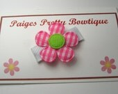 Itty Bitty Hot Pink Gingham Flower Clip-Baby Hair Clip-Infant Hair Clip-Toddler Hair Clip-Fine Hair Clip-Snap Clip