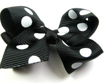 """2.25"""" Black & White Polka Dot Hair Bow-Toddler Hair Bow-Child Hair Bow-Boutique Hair Bow"""