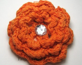 "CLOSEOUT-2.5""  Orange Crochet Flower Clip-Alligator Clip-Toddler Hair Clip-Girls Hair Clip"