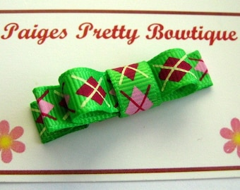 Green/Pink/Red Argyle Tuxedo Clip-Toddler Hair Clip-Alligator Clip