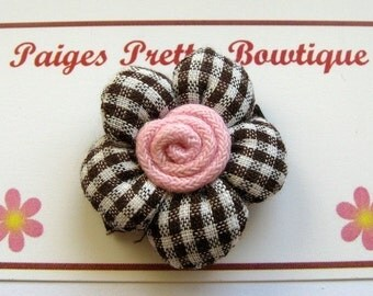 Brown/White Gingham Cotton Flower Snap Clip-Baby Hair Clip