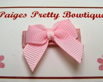 Light Pink Itty Bitty Bow Snap Clip-Baby Hair Clip-Toddler Hair Clip-Fine Hair Clip