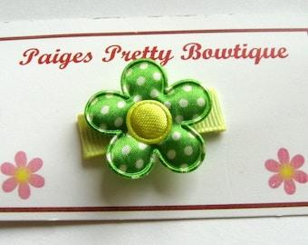 "1"" Green Satin Flower Clip-Toddler/Baby Hair Clip-Snap Clip-Fine Hair Clip"