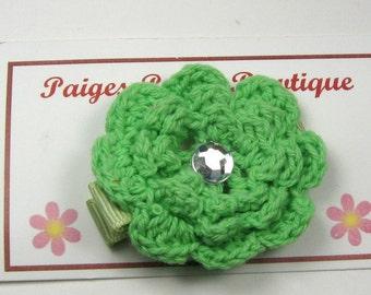 """CLOSEOUT-1.5"""" Green Crochet Flower Clip-Toddler Hair Clip-Crochet Flower-Alligator Clip"""