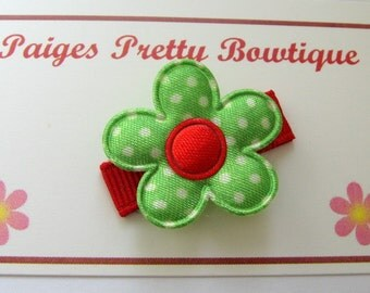 "1"" Green & Red  Satin Flower Snap Clip-Toddler Hair Clip-Infant Hair Clip-Baby Hair Clip-Fine Hair Clip"