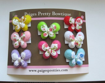 """1.5""""  Butterfly Snap Clip Set-Toddler Hair Clip-Baby Hair Clip-Fine Hair Clip-Set of 8"""