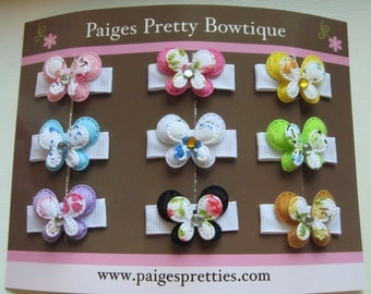 Itty Bitty Butterfly Set-Baby Hair Clip-Toddler Hair Clips-Fine Hair Clips-Set of 9