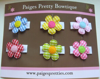 Itty Bitty Gingham Flower Set-Baby Hair Clip-Toddler Hair Clips-Fine Hair Clips-Set of 6