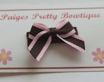 Brown & Pink Itty Bitty Bow Snap Clip-Baby Hair Clip-Toddler Hair Clip-Fine Hair Clip