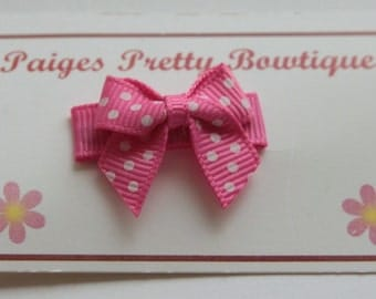 Pink & White Polka Dot Itty Bitty Bow Snap Clip-Baby Bow-Toddler Bow-Fine Hair Clip