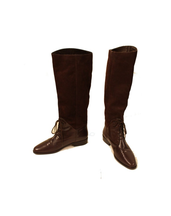 classic vintage chocolate brown leather and suede boots