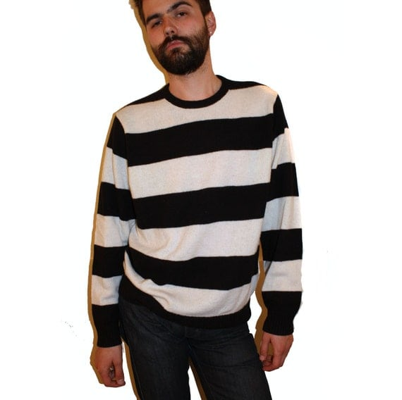 Vintage Black And White Prison Striped Crew Neck Sweater 70S-2381