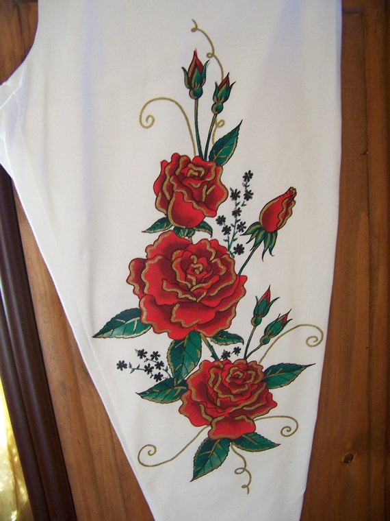 2X White Capris with Red Roses