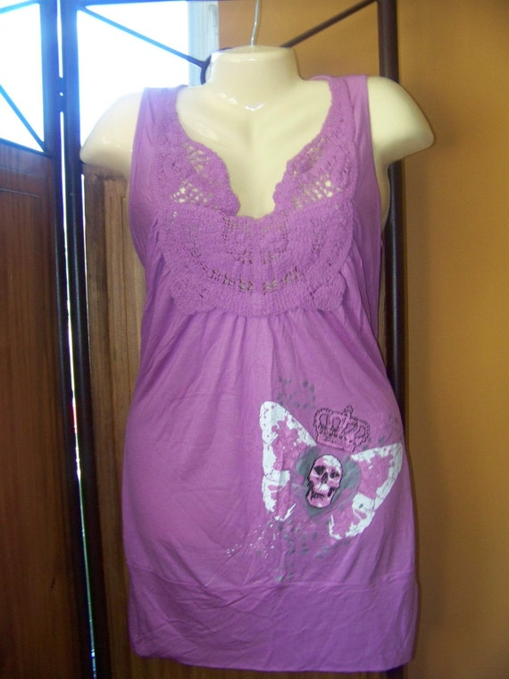 LARGE LAVENDER PURPLE Tunic With Skull Wings And Kings Crown