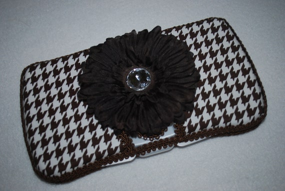 SALE - Boutique Flip Top Baby Wipe Case - Brown and White Houndstooth Covered Wipes Case
