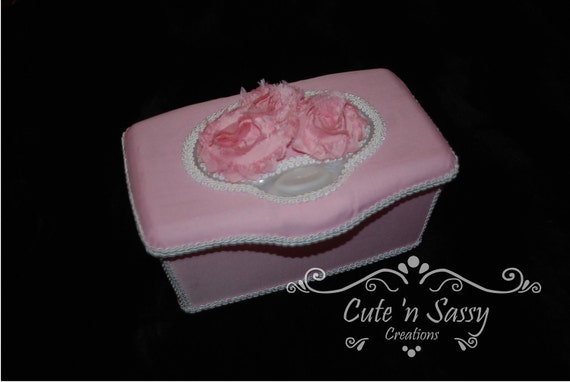 Boutique Flip Top Baby Wipe Tub - Pink Shabby Chic with Pink Flowers Covered Nursery Wipes Box