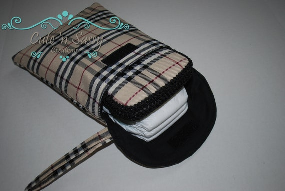 Baby Wipe Case and Diaper Pouch Gift Set - Designer Inspired Tan Plaid