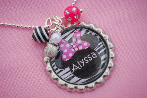 Girls Personalized Necklace Bottlecap Pendant Necklace - Minnie Mouse with Pink Bow