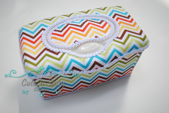 Boutique Flip Top Baby Wipe Tub - Urban Zoologie Bermuda Chevron Covered Nursery Wipes Box