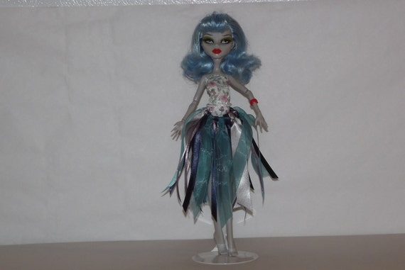 Monster High Doll clothes long ribbon skirt and flowered leotard