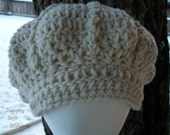 Chunky Wool Crochet Slouchy Newsboy Hat  Natural (Off White)